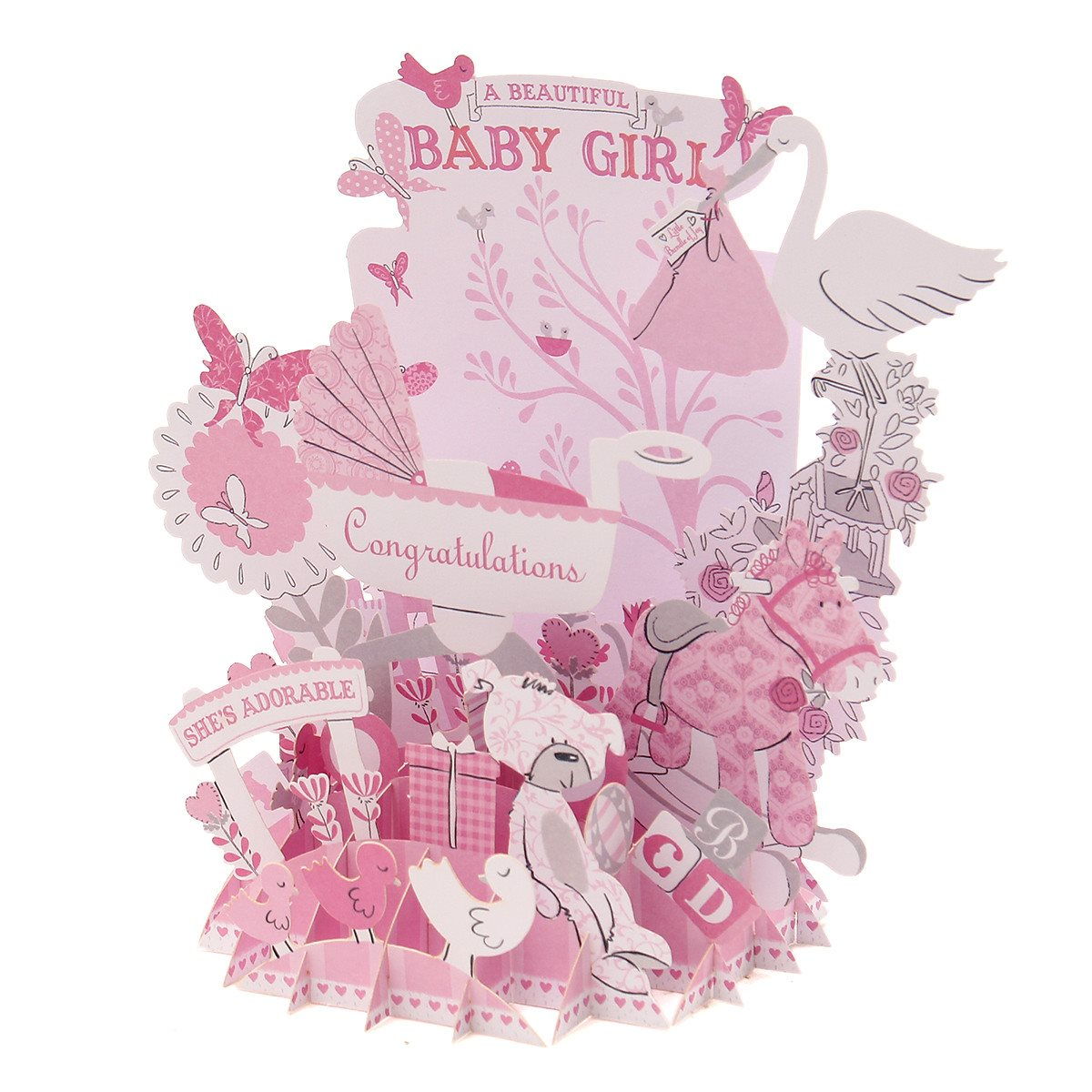 Paper pop up greeting card baby girl birthday wedding invitation paper pop up greeting card baby girl birthday wedding invitation card handmade gift events party supplies favors crafts supplies in cards invitations from kristyandbryce Images