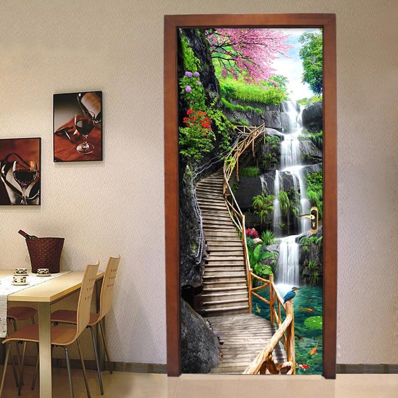 3D Wood Bridge Waterfall Lotus Self-Adhesive Door Murals Wall Sticker Home Decal