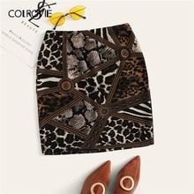 COLROVIE מעורב בעלי החיים הדפסת אלגנטי Bodycon חצאית נשים Bottoms 2019 קיץ קוריאני עיפרון חצאית משרד גבירותיי מצויד מיני חצאיות