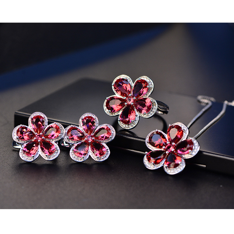 HTB1KS4TXRCw3KVjSZR0q6zcUpXaf PANSYSEN Luxury Flower Design Ruby Gemstone Clip Earrings for Women Solid 925 Sterling Silver Jewelry Wedding Christmas Gifts