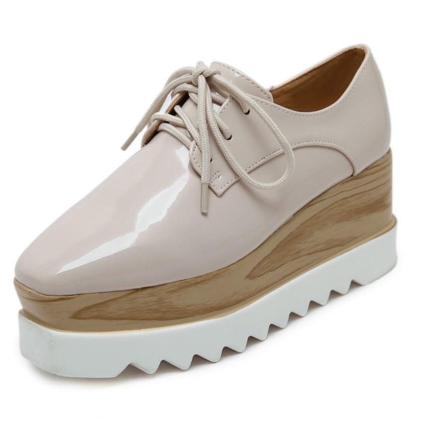 Llano Simple Conciso Mujeres Oxfords Zapatos Creepers Zapatos de Plataforma de T