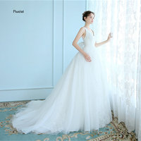 2017 Real Image Elegant Tulle Wedding Dresses V Neck Lace Appliques Sleeveless Bow Bridal Gown Open