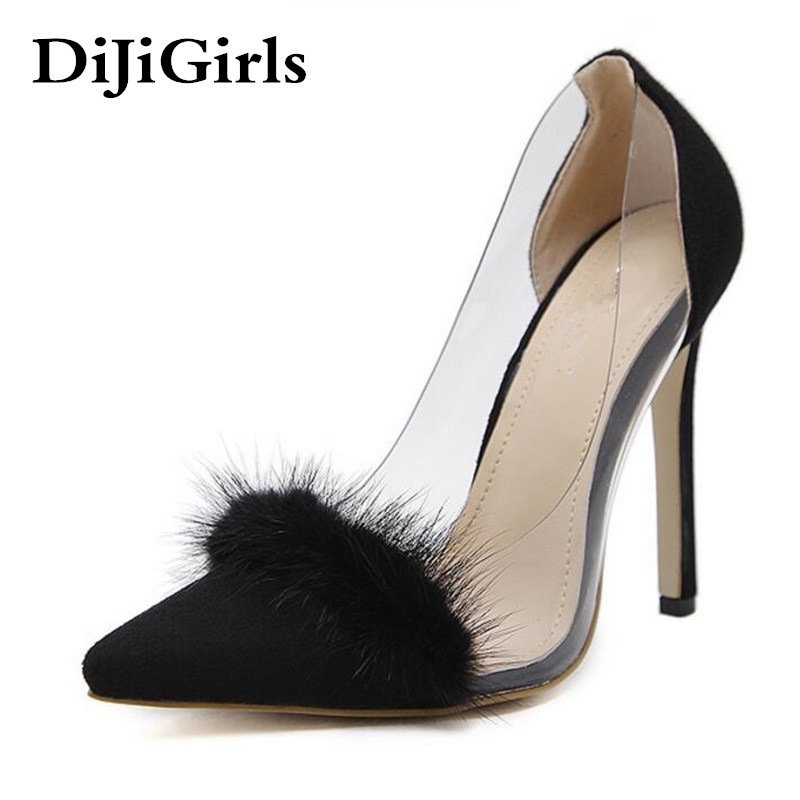 DiJiGirls 2017 New Fashion Spring Autumn Women Pointed Toe Suede Flock Thin Heels Pumps Fluff Decoration High Heels Shoes Woman  choudory high heels woman pumps spring autumn flower decoration woman shoes attractive flock pointed toe party zapatos mujer