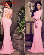 Sexy Pink Backless Long Sleeve Mermaid 2017 Robe De Soiree Custom Made Cheap Prom Gowns Evening Dresses