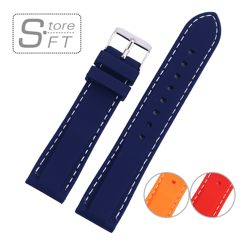 цена на Smooth Silicone Watch Band Strap With Stitching Different Size Women Watchband Navy Orange Red Color Size 18mm 20mm 22mm 24mm