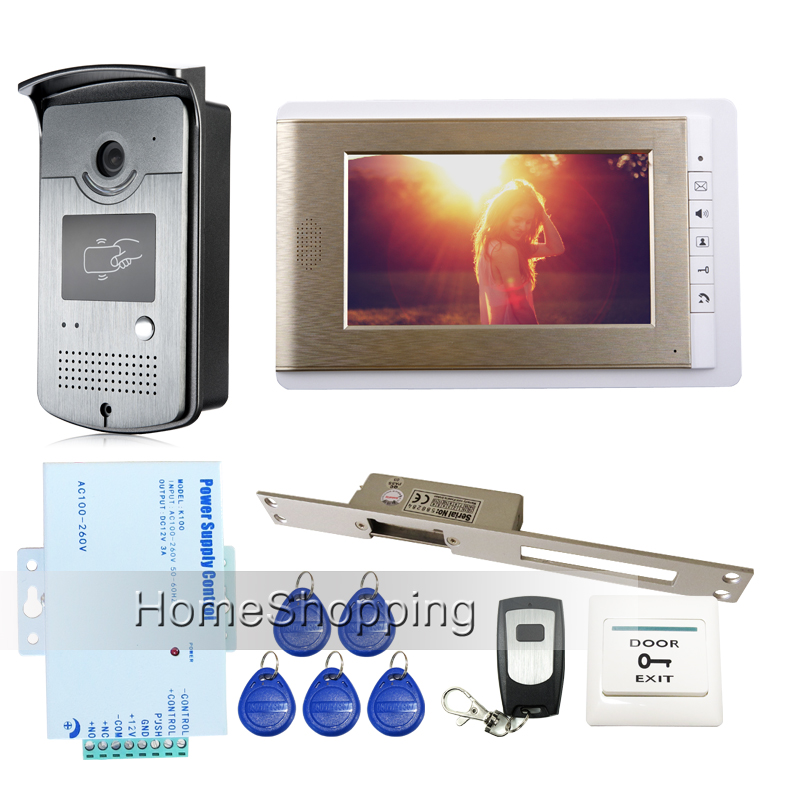 FREE SHIPPING 7 inch Color Video Door phone Intercom System 1 RFID Camera + 250mm Electric Door Strike Lock  IN STOCK Wholesale free shipping brand new home 7 inch video intercom door phone system 2 monitors rfid camera long 250mm strike lock in stock