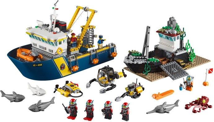 children toy CHINA BRAND 02012 self-locking bricks Compatible with Lego City Deep Sea Explorers 60095 Exploration Vessel sermoido 02012 774pcs city series deep sea exploration vessel children educational building blocks bricks toys model gift 60095