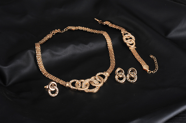 New Vintage Jewelry Sets Nigerian African Beads Collar Statement Necklace Earrings Bracelet Ring Women Wedding Party Accessories