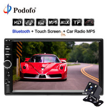 Podofo 2 din Автомагнитолы 7 «Авторадио кассета Регистраторы 7018B Сенсорный экран Car Audio Bluetooth USB AUX MP5 7018B мультимедийный плеер