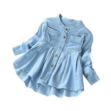 Костюм для девочек Лето г. новая джинсовая футболка с длинными рукавами и рюшами для маленьких девочек топы, блузка, одежда#3A17