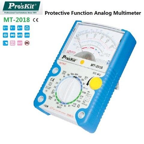 Bateria do Diodo Proskskit Analógico Multímetro Função Protetora dc – ac Tensão Atual Resistência Capacitância Medidor Decibéis Mt-2020