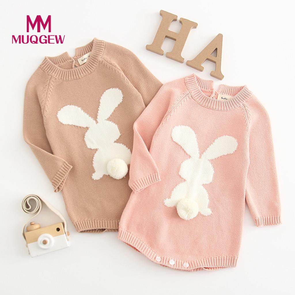 High Quality Cute Newborn Baby Girl Cartoon Cotton Knitting Rabbit Pom Sweater Tops Long Sleeve Romper Comfortable Baby Clothes