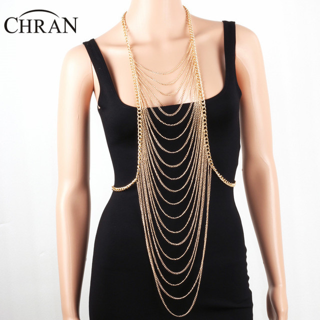 b8882573cc0457 Chran New Fashion Sexy Chain Bralette Gold Silver Color Tassel Body Jewelry  Chain Necklace Beach Bikini Jewelry Harness DDBJ9004