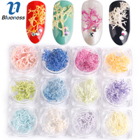 Blueness 12Box 3D Nails DIY UV Gel Stickers Natural Tree Flowers Design Decorations Nails Art Accessories
