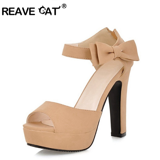 a0c089b726c REAVE CAT New summer Peep toe Ankle strap orange Sweet high heel Sandals  Platform Lady shoes Bowtie 4 Colors Spike heels