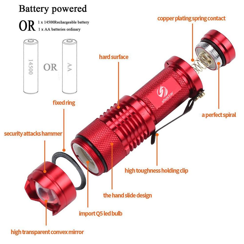 Fargerikt Vanntett LED Lommelykt High Power 2000LM Mini Spot Lamp 3 - Bærbar belysning - Bilde 4