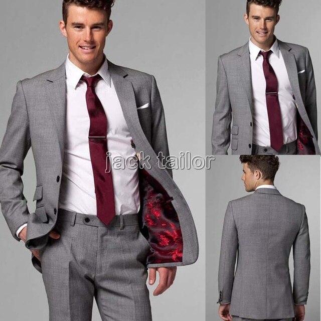 custom made slim fit light grey Suits business suit wedding groom ...