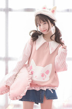 Original Design Mori Girl Autumn New Collection Hoodies Cute Lovely Pink Woolen Tops Preppy Style All Match Soft Sister Hoodies