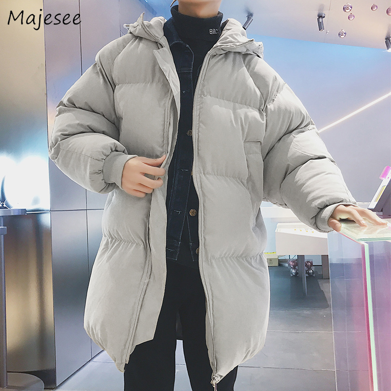 Parkas   Men Thicker Plus Velvet Hooded Simple All-match Pockets Leisure   Parka   Mens Large Size Korean Style Warm Ulzzang Outerwear