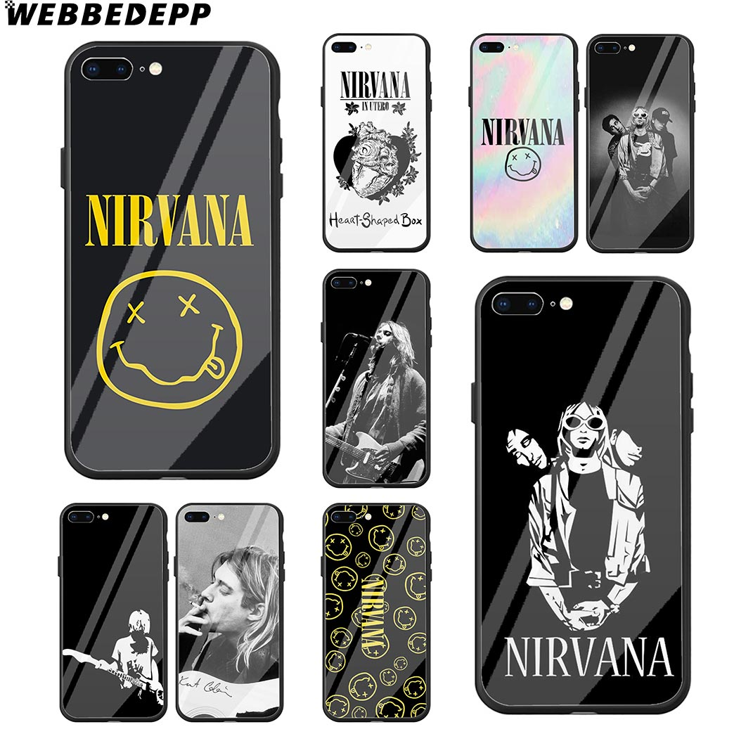 Us 4 68 33 Off Webbedepp Nirvana Kurt Cobain Bands Tempered Glass Phone Case For Apple Iphone Xr Xs Max X Or 10 8 7 6 6s Plus 5 5s Se 7plus In