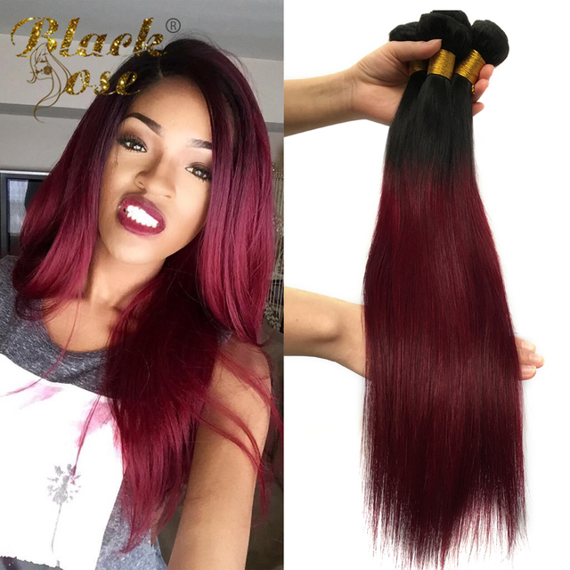 3 Bundles Peruvian Straight Hair Ombre Weave Two Tone Color 1b 99j