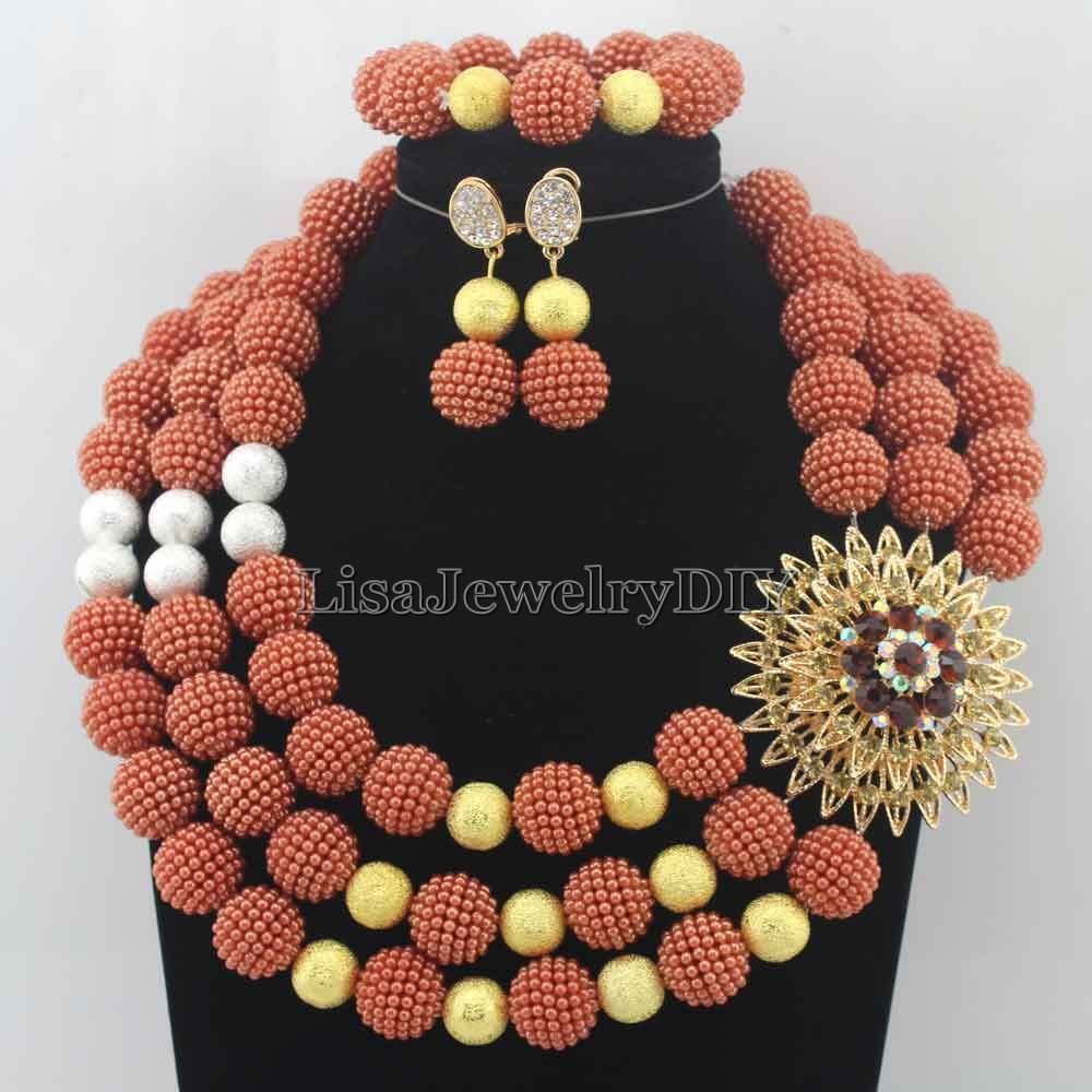 Hot Statement Necklace Nigerian Wedding African Beads Jewelry Set Jewelry Set Free Shipping Womens Jewellery Set