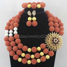 Hot Statement Necklace Nigerian Wedding African Beads Jewelry Set Jewelry Set Free Shipping Womens Jewellery Set HD7155
