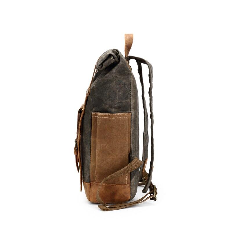 Мужской рюкзак, рюкзак для ноутбука, большой повседневный брезентовый винтажный рюкзак Crazy Horse из кожи, винтажный Прочный Мужской рюкзак для путешествий, мужская сумка - 3