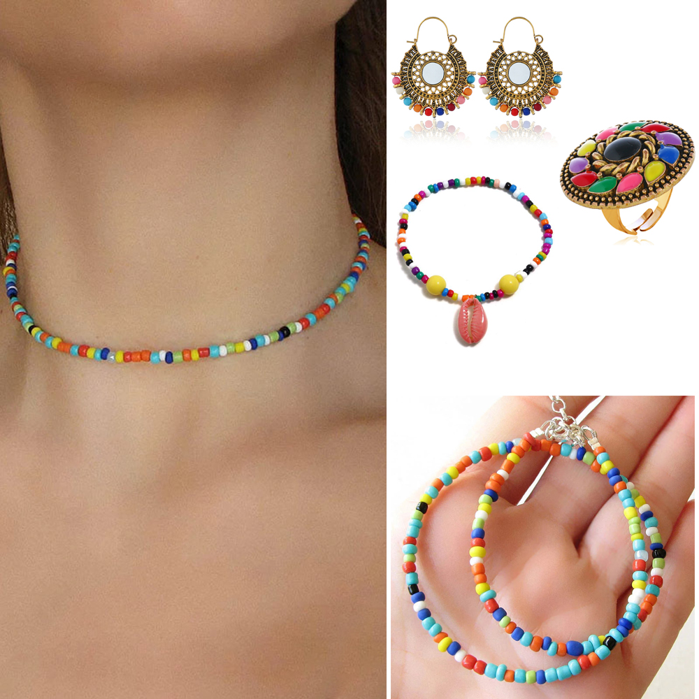 African Beads Jewelry Sets Statement Necklace Women Bohemian Jhumka Earring <font><b>Ring</b></font> <font><b>Bracelet</b></font> Nigerian Wedding <font><b>Indian</b></font> necklace sets image