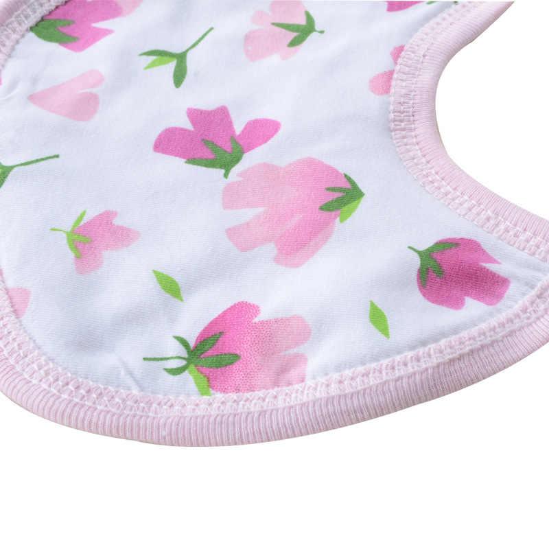 Babero de bebé al azar de Color impreso lindas toallas de Saliva para bebés 2 unids/set paño de eructo para niñas de algodón 100% Bandana para niños baberos