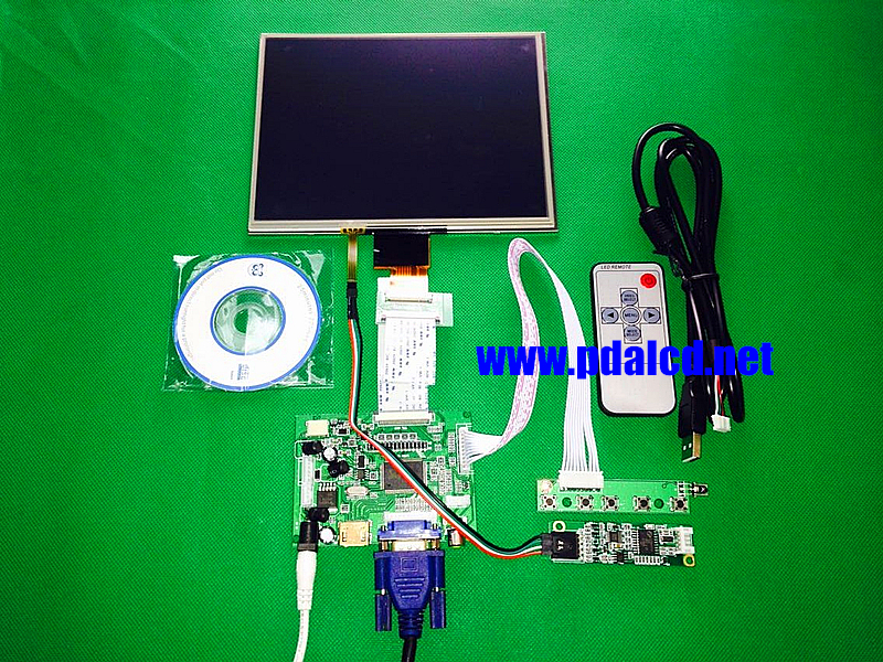HDMI/VGA/AV Control Driver Board +Touchscreen + 8inch HJ080IA-01E 1024*768 IPS high-definition LCD Display For Raspberry Pi