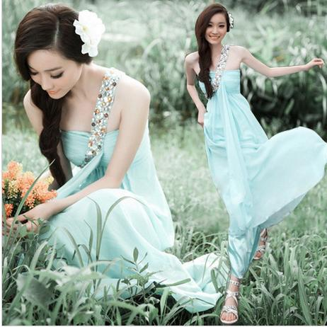 Aquamarine Gown Glamorous Quinceanera Dresses Party Dress Wedding Bridesmaid One Shoulder Rhinestone