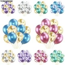 YONGSNOW 12inch 10Pcs/lot Mix Metallic balloon Latex Transparent Air Confetti Balloon Wedding Birthday Party Baby Shower Decor