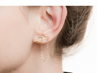 Fashion Gold Plated Circle Studs Chain Threader Earrings Handmade Sterling Silver Bar Stick Ear Cuff Charm