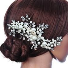 Wedding Hair Accessories Clips Romantic Crystal Pearl Flower HairPin  Rhinestone Tiara Bridal Crown Hair Pins Bride 3fd48459e522