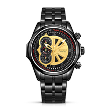 BUREI 17002 Switzerland watches men luxury brand Men's Chronograph Stainless Steel Watch with Black Bracelet and Black Dial