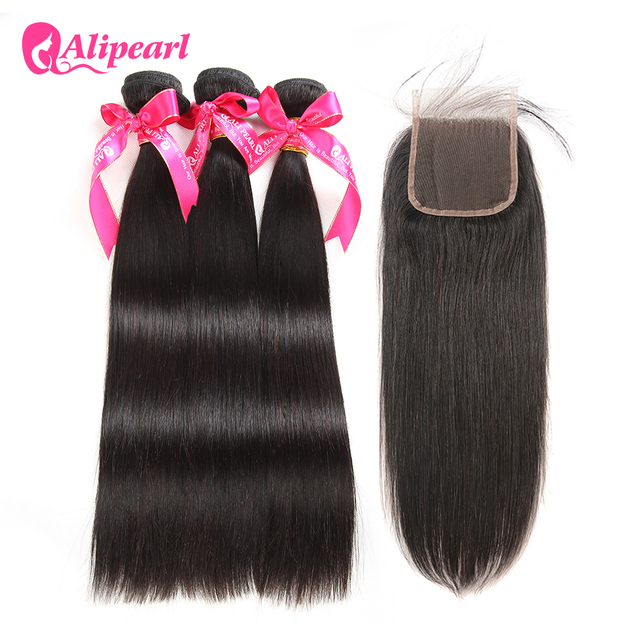 AliPearl Hair 100% Human Hair Bundles with Closure Brazilian Straight Hair Weave 3 Bundles Natural Black Remy Hair Free Shipping