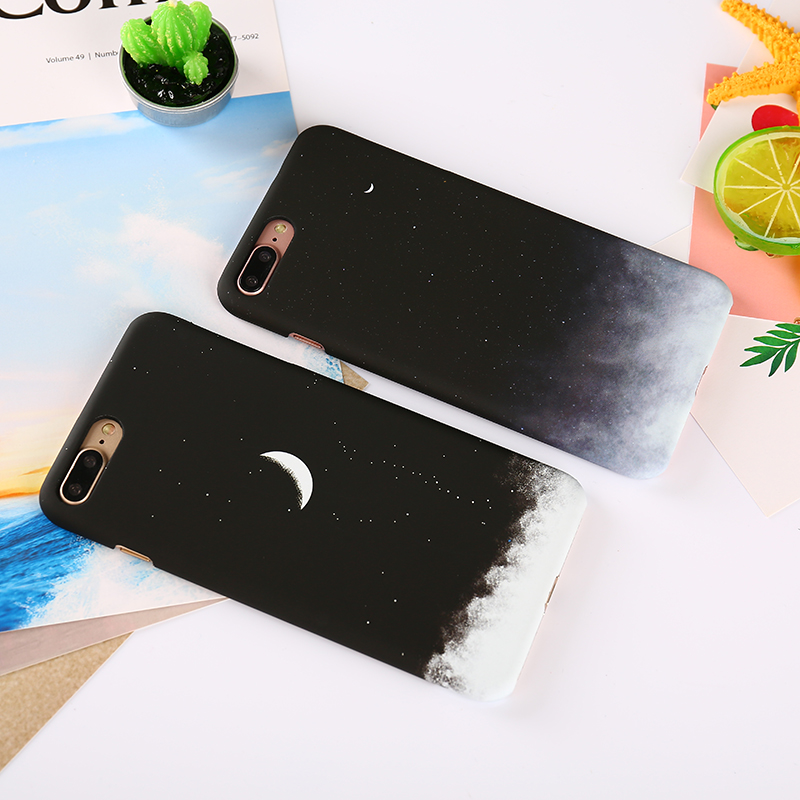 Gradient Starry Sky Case For iPhone 7 Moon Lunar Eclipse Phone Cases Cover For iPhone 6S 6 8 Plus Matte Hard PC For iPhone X ...