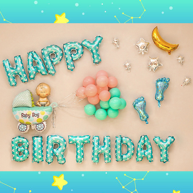 Happy Birthday Foil Balloons Baby Boy And Girls Sets Shower Girl 100days 1year Old Party Decorations