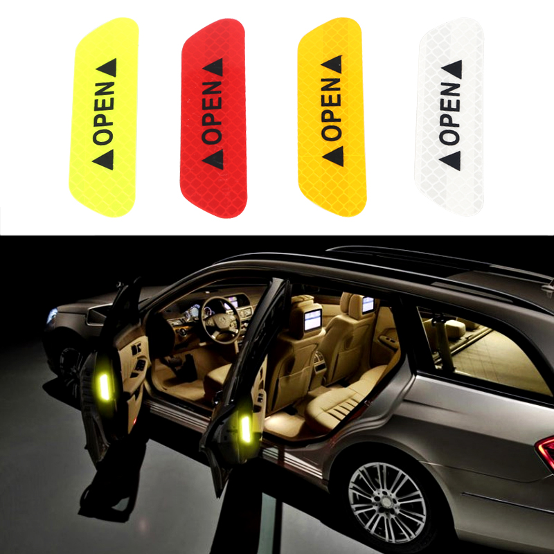 4Pcs Car Door Stickers Warning Mark Reflective Tape Auto Exterior Accessories OPEN Sign Safety Reflective Strip Light Reflectors