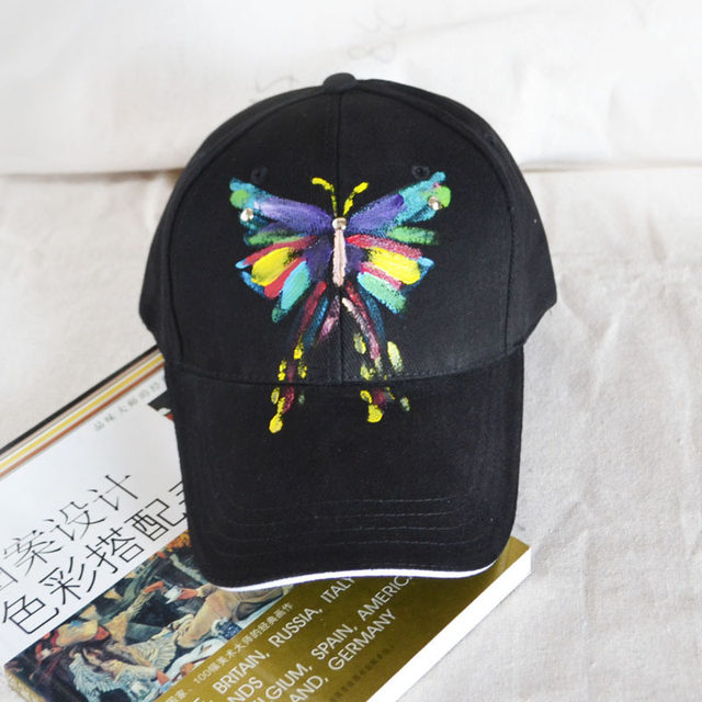 2be47be5b09 High Quality Women s Baseball Cap Butterfly Beetle Painting Baseball Cap  Adjustable Hip Hop Cap Leisure Casual Snapback HAT