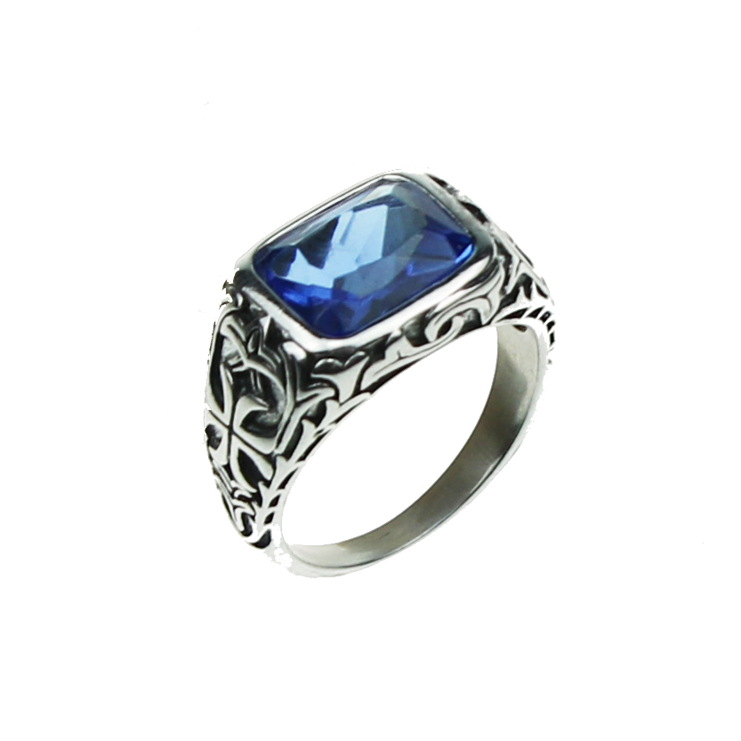 Real Pure 925 Sterling Silver Rings For Men Blue Natural