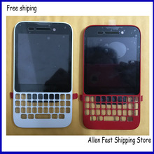 Original Q5 LCD Touch Screen , For Blackberry Q5 LCD With Front Housing Frame Bezel+LOGO , White / Red Color, Free Shipping