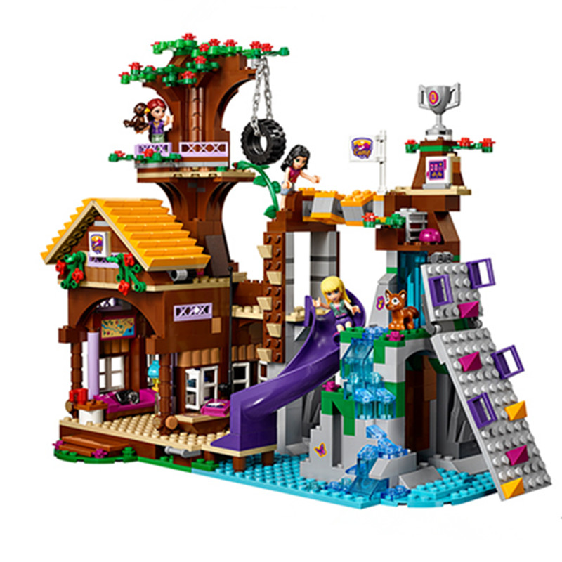 739pcs Diy Compatible With Legoingly Girl Friends Series Adventure Camp Tree House Building Blocks Bricks Toys For Children Gift [hot] 875pcs legoings adventure camp tree house model building blocks gifts toy compatible legoingly friends toys for children