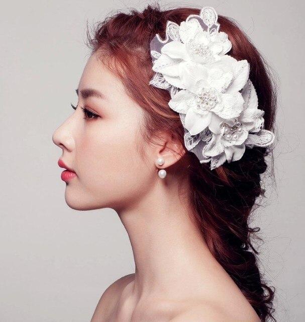 2016 Handmade Ivory Wedding Hair Comb Flower Pearls Rhinestone Bridal Hats Hair Accessories Crystal Lace Wedding Hats