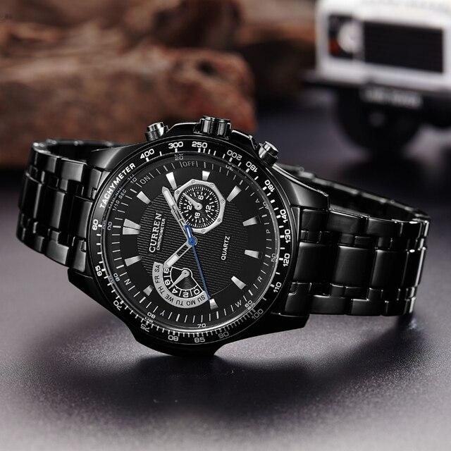 CURREN Кварц Черный Vogue Бизнес Военная Униформа человек Для мужчин часы 3ATM водонепроницаемый Dropship 8020 Relogio