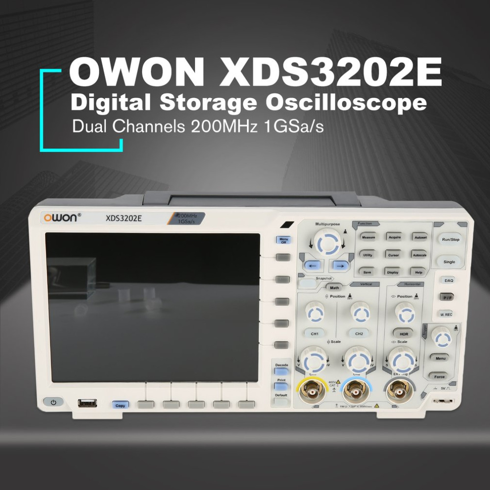 OWON XDS3202E Dual Channel Display LCD Profonda Memoria Oscilloscopio a memoria Digitale Scopemeter Ambito Meter 200 mhz 1GSa/s