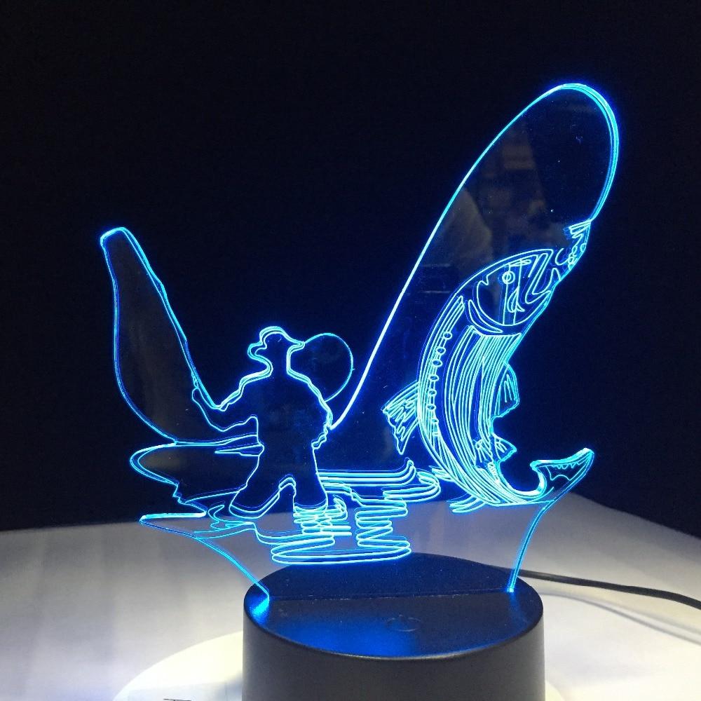 3D LED Night Light Go Fishing 7 Color Change LED Lights USB Novelty Lamp Children's Night Light Atmosphere LED Desk Lamp