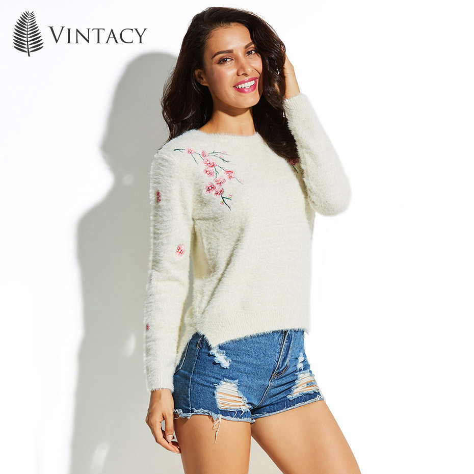 Vintacy Women's Sweater Round Neck Long Sleeve Embroidery Floral Pullover 2018 Top Fashion Modern Female Girls Women's Sweater