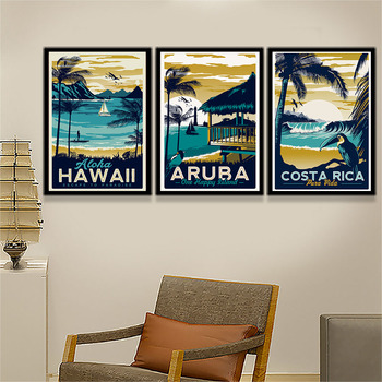 Vintage Poster Hawaii Tropische Zee Strand Zeegezicht Art Canvas Enorme Print Moderne Landschap Foto Thuis Muur Decor FA023